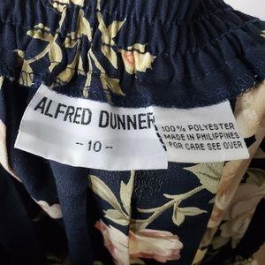 Vintage Skirts - Vintage Alfred Dunner Navy Floral Pleated Skirt